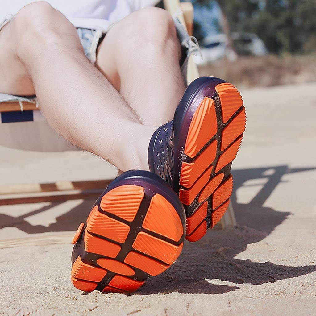 Geetobby Men Outdoor Casual Walking Beach Flip Flops Beach Slippers Hollow Shoes