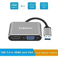 CABLEDECONN Adaptador USB 3.0 a HDMI VGA HD 1080P Video Graphics Convertidor Windows 7/8/10 Solamente, Soporta HDMI VGA visualización simultáneamente (USB 3.0 HDMI VGA, Gray)