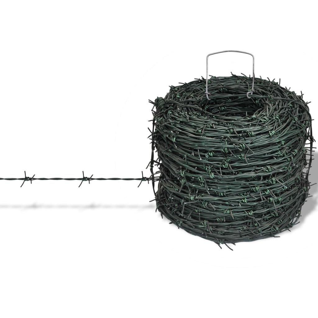 vidaXL Fil de fer barbelé ronce artificielle barbelé Clôture enduit de poudre 100 m