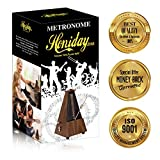 Honiday Metronome, Antique Style Metronome for Guitar, Piano, Drums, Violin, Vocal or Any Musical Instrument, Bonus 3 Usefull Ebook and More (Wood Style)