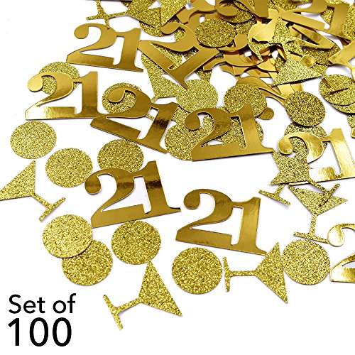 21 Birthday Table Confetti - Gold Glitter Circle Confetti Martini Glass Confetti 21 Number Confetti Gold Foil Table Confetti Twenty First Birthday Finally 21 Birthday Table Decorations - Set of 100