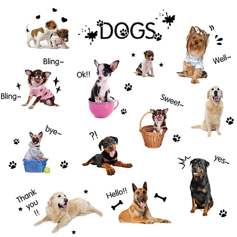 Wopeite Puppy Dogs Wall Sticker DIY Vivid Decals Removable Decoration pet Love for Kids Nursery Room Living Room Bedroom