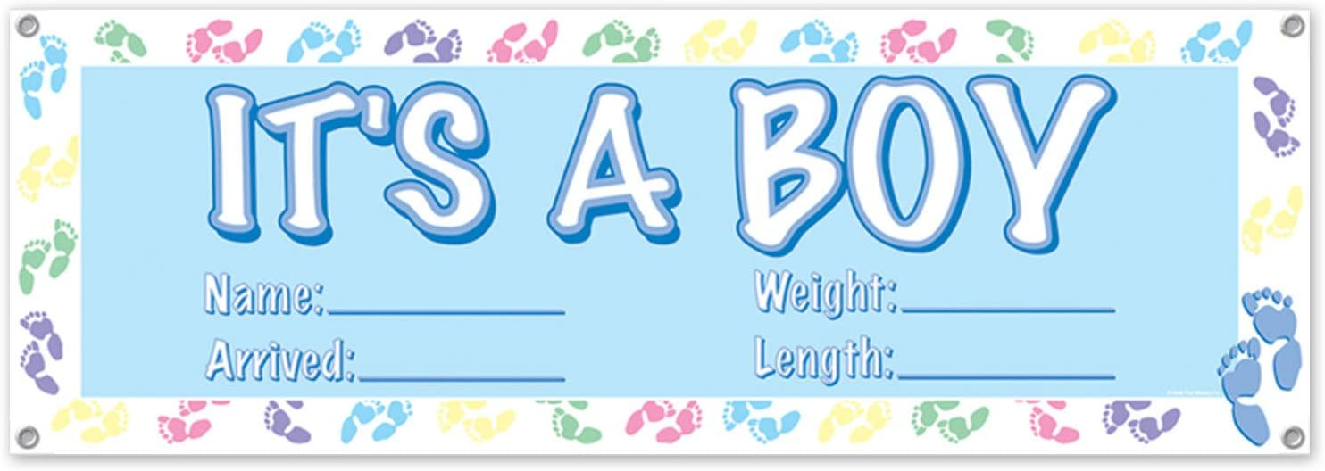 "Beistle 50178 It's A Boy Sign Banner, 5' x 21"", Light Blue/White/Pink/Purple/Green/Yellow"