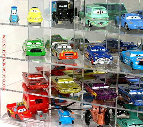 - Pixar Disney 35 Car Diecast Display Case Mirror and Compartments