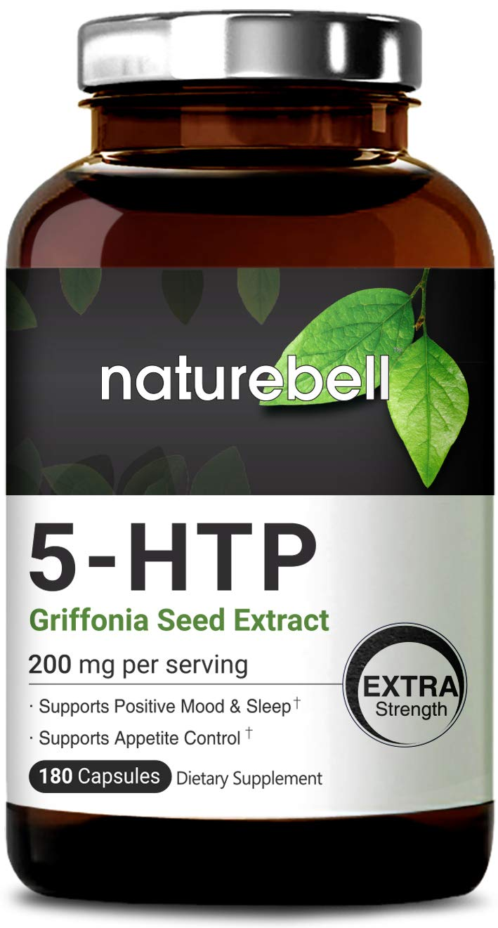 NatureBell 5-HTP 200mg Per Serving, 180 Capsules, Griffonia Seed Extract, Powerfully Promotes Positive Mood & Sleep, Non-GMO, Made in USA