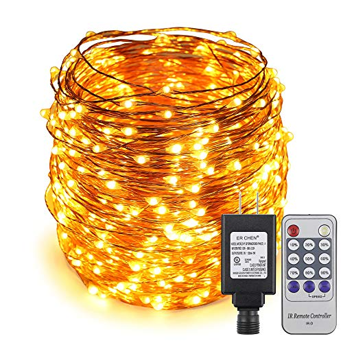 ER CHEN 165ft Led String Lights,500 Led Starry Lights on 50M Copper Wire String Lights Power Adapter + Remote Control(Warm - Ornament Cluster Christmas