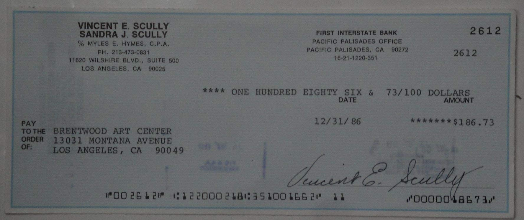 Vin Scully Hand Signed Autographed Personal Check Los Angeles Dodgers w/COA