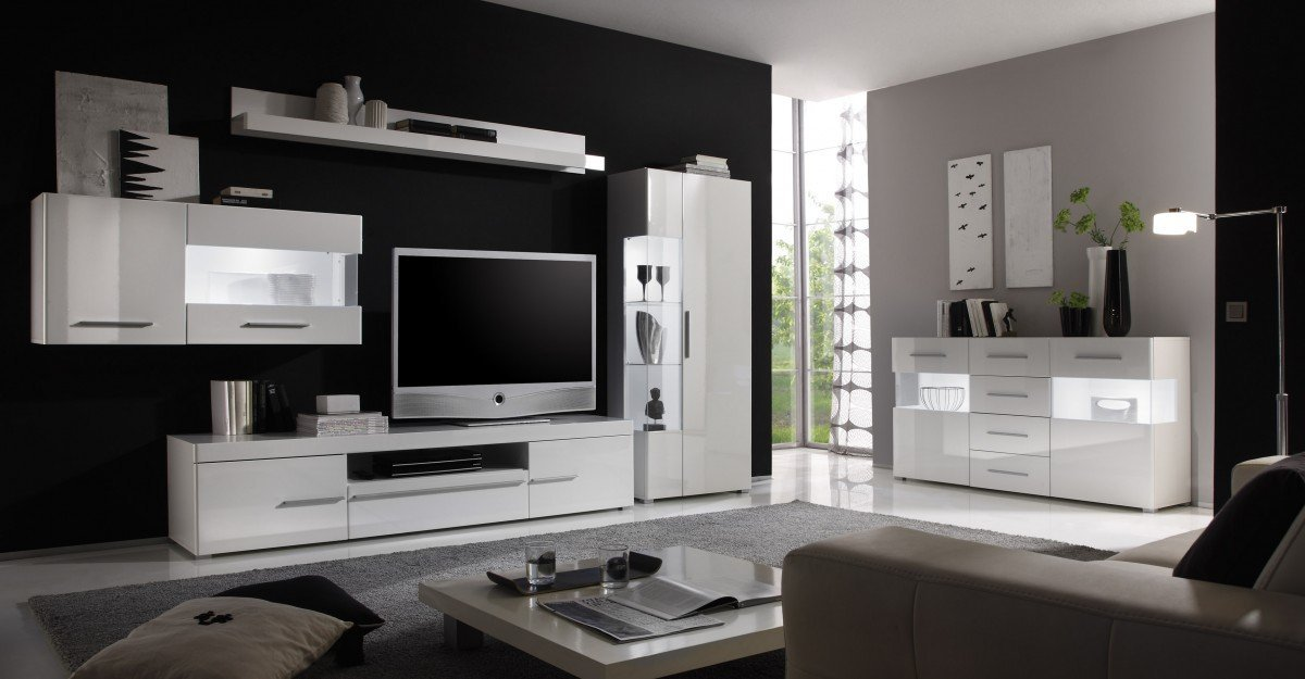 dreams4home wohnzimmer set 39 anisha 39 set glasvitrine h ngevitrine tv lowboard wandregal. Black Bedroom Furniture Sets. Home Design Ideas