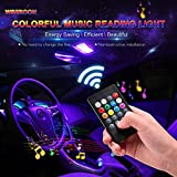 #4: Car LED Reading Lights, Wsiiroon 2pcs 24 LED Universal Multicolored Music Car Dome lights Interior Lights Decoration Lights, Wireless Remote Controlled, DC 12V