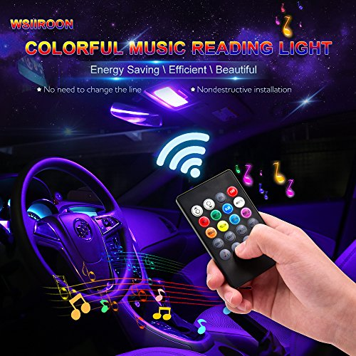 Car LED Reading Lights, Wsiiroon 2pcs 24 LED Universal Multicolored Music Car Dome lights Interior Lights Decoration Lights, Wireless Remote Controlled, DC 12V