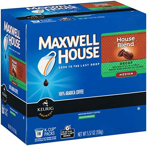 Maxwell House House Blend Decaf Coffee, Medium Roast, K-CUP Pods, 18 count (Pack Of 4)