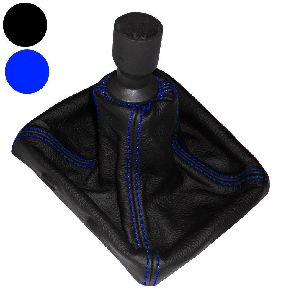 AERZETIX Funda para palanca de cambios 100/% Piel Genuina negro Costuras de color azul