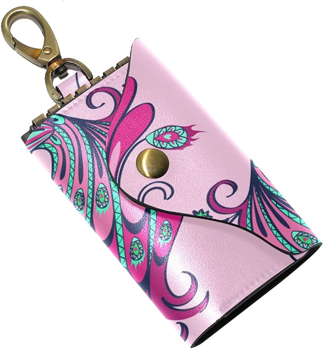 DEYYA Peacock Feather Leather Key Case Wallets Unisex Keychain Key Holder with 6 Hooks Snap Closure