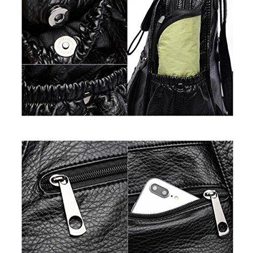 Rucksack Von ZAIYI Weibliche Schultertasche Weiches Leder Trend Mode Rucksäcke Freizeittaschen Reiserucksack,Black Black