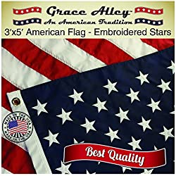American Flag: 100% American Made by Grace Alley - 3x5 ft US Made In USA - Embroidered Stars and Sewn Stripes. This American Flag Meets US Flag Code.