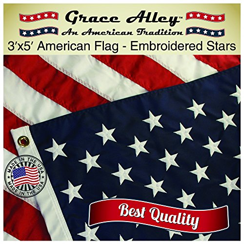 American Flag: American Made by Grace Alley - 3x5 US Flag Made In USA - Embroidered Stars and Sewn Stripes. This American Flag Meets US Flag Code.