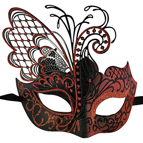 Xvevina Masquerade Mask for Women 100% Handpainted Venetian Pretty Party Evening Prom Mask (Butterfly Black&Red) -