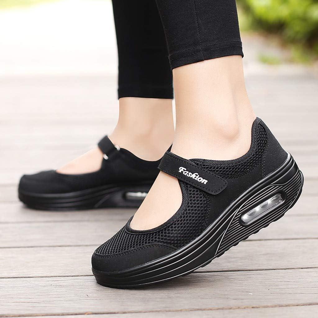 Mailles L/ég/ères et Respirantes Celucke Baskets Compens/ées pour Femmes Coussins Velcro avec Rehaussement Antid/érapants Chaussures Course Sneakers Chaussures /à Bascule