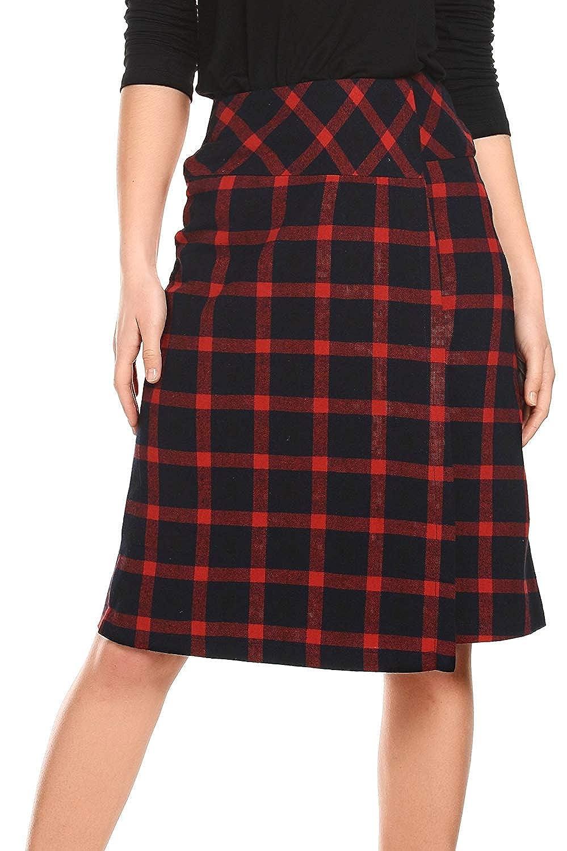 AMORETU Womens High Wide Waisted Mid Length Scottish Tartan Skirt