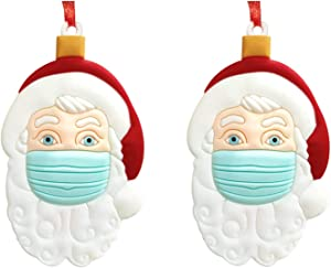 2020 Christmas Santa Claus Ornaments, Wearing Mask Christmas Tree Decorations, Santa Claus Tradition Home Decor for Family(2 Pack)