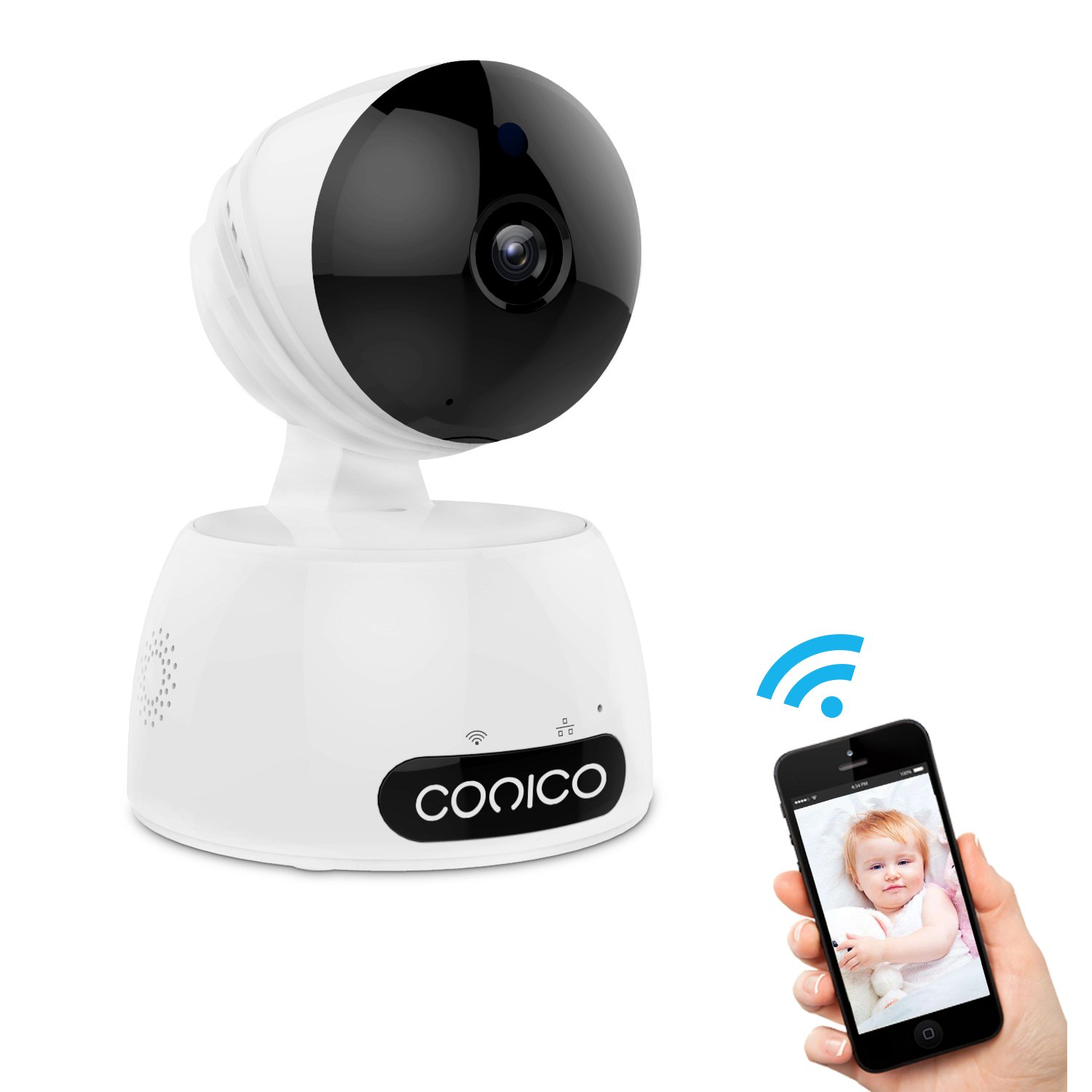 Video Baby Monitor, Conico 1080P Wireless WiFi Surveillance Camera Nanny Cam with Two Way Audio Night Vision Motion Detect Remote Viewing Pan Tilt Zoom for iPhone and Android