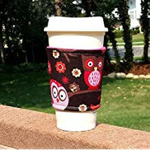 Fabric coffee cozy / cup sleeve / coffee sleeve / coffee cup holder -- Happy Owls