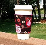 owl coffee cup cozy - Fabric coffee cozy / cup sleeve / coffee sleeve / coffee cup holder -- Happy Owls