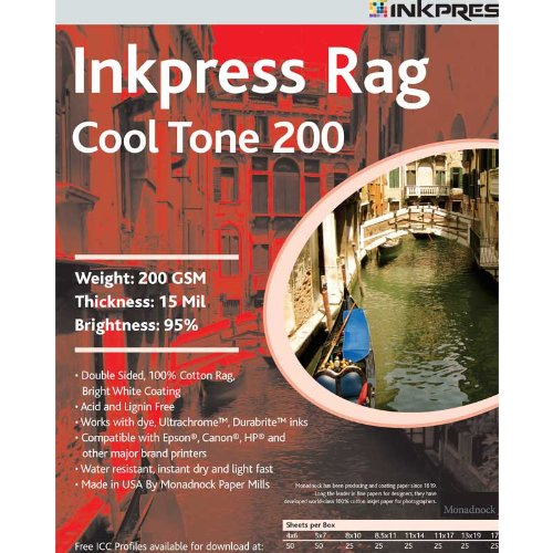 White Paper Inkjet Bright Matte (Inkpress Rag, Cool Tone Double Sided, Bright White Matte Inkjet Paper, 15 mil., 200gsm, 5x7