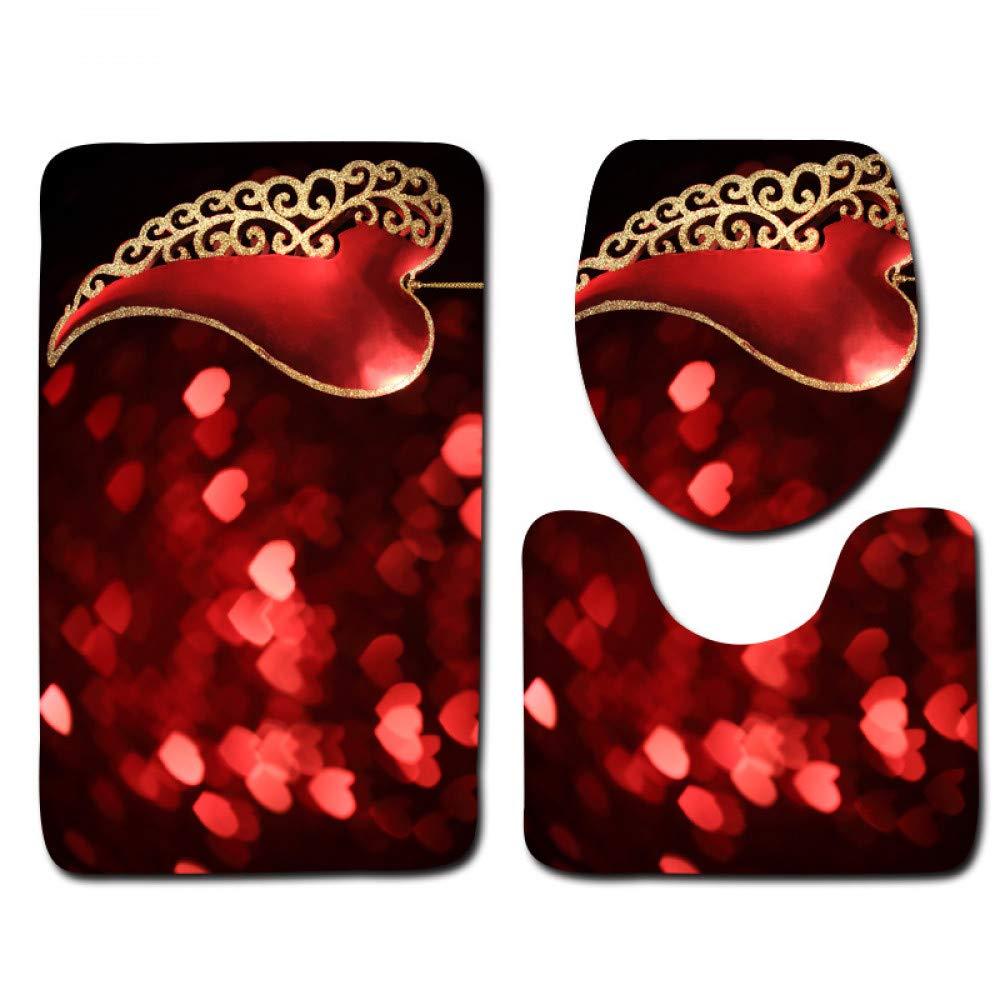 GMYANMTD Die 3 Sätze Badezimmerteppichmatte und Toilettensitzabdeckung mit Rosa Blütenblatt WC Anti-Rutsch-Matte und Toilettensitzabdeckung Badematte B07HF8K15B Duschmatten
