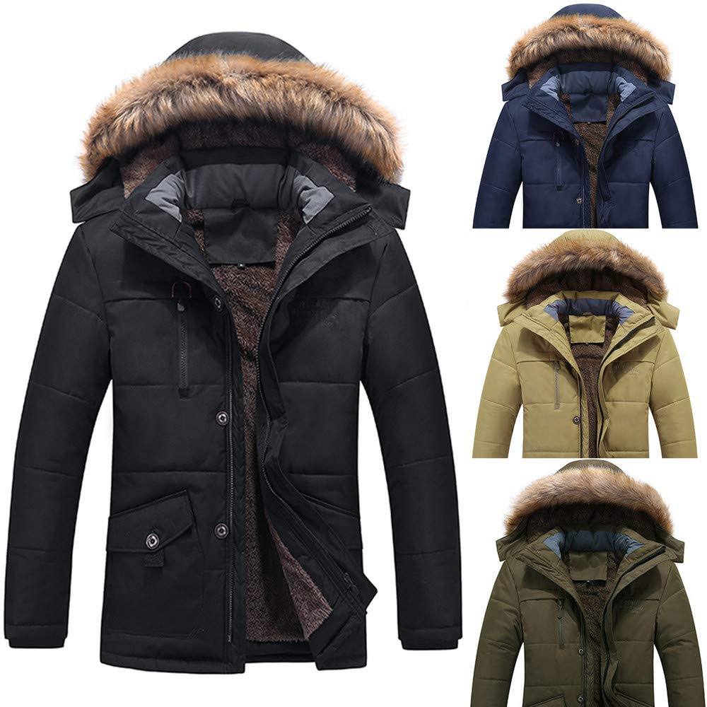Canifon Mens Winter Medium Length Zipper Plus Size Thickened Hooded Cotton Outwear Coat