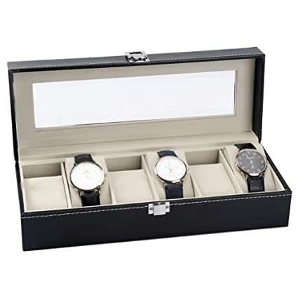 Decorative Jewelry Boxes,Pu Leather Watch Storage Box Watch Jewelry Box  Sorting 6 Slots