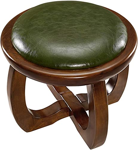 Upholstered Faux Leather Footstool, Retro Cube Ottoman Bench Shoe Change Stool Comfort Ottoman Pouf footrest -Green 36.5×31.5cm 14x12inch