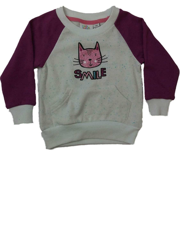Infant Toddler Girls Glitter Kitty Cat Kangaroo Pouch Pullover Baseball Sweater