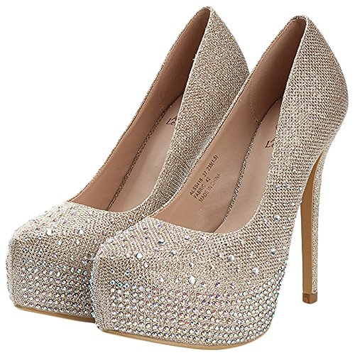 Alexis Leroy Womens Shiny Sequins Prom High Heels Wedding Bridal Party Platform Pumps Shoes Gold sDmZ32O