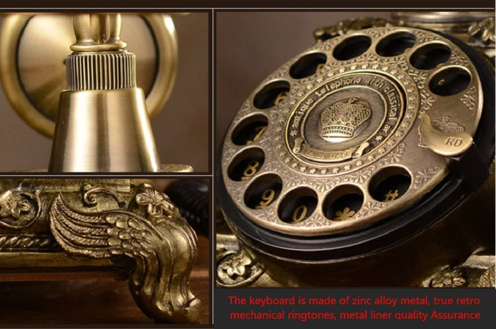 K-DD Classic Vintage Telephone With Push Button Dial Gold