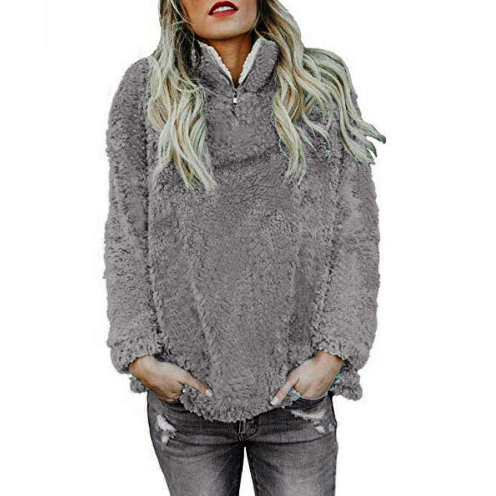 BETTERUU Women Warm Fluffy Winter Solid Casual Zip Up Sweatshirt Pullovers Outwear BEUU FASHION