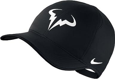 Amazon Com Nike Mens Rafael Nadal Featherlight Adjustable Tennis Hat Black White Clothing