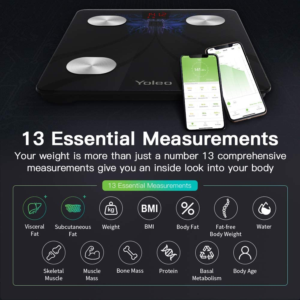 Body Fat Scale – Yoleo Smart Scale Bathroom Bluetooth Weight Scale with 13 Body Analyzer for Fat, BMI, BMR, Muscle Mass, Water Unlimited Users Wireless iOS Android APP