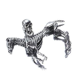 PMTIER Men's Stainless Steel Silver Skeleton Horse Skull Pendant Necklace 22 Inch Chain