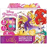 Make It Real Disney Princess Fashion Watercolor Sketchbook. Disney Princesses Water Coloring Book for Girls. Includes Princess Sketch Pages, Paint Brushes, Watercolor Paints, Stencils & Stickers
