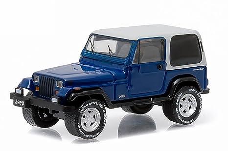 Buy Greenlight 1990 Jeep Wrangler YJ, Blue - 29830D 1/64