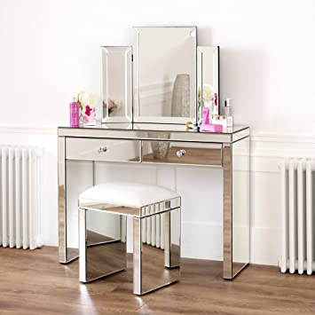 The Furniture Market Venetian Mirrored Dressing Table Set White