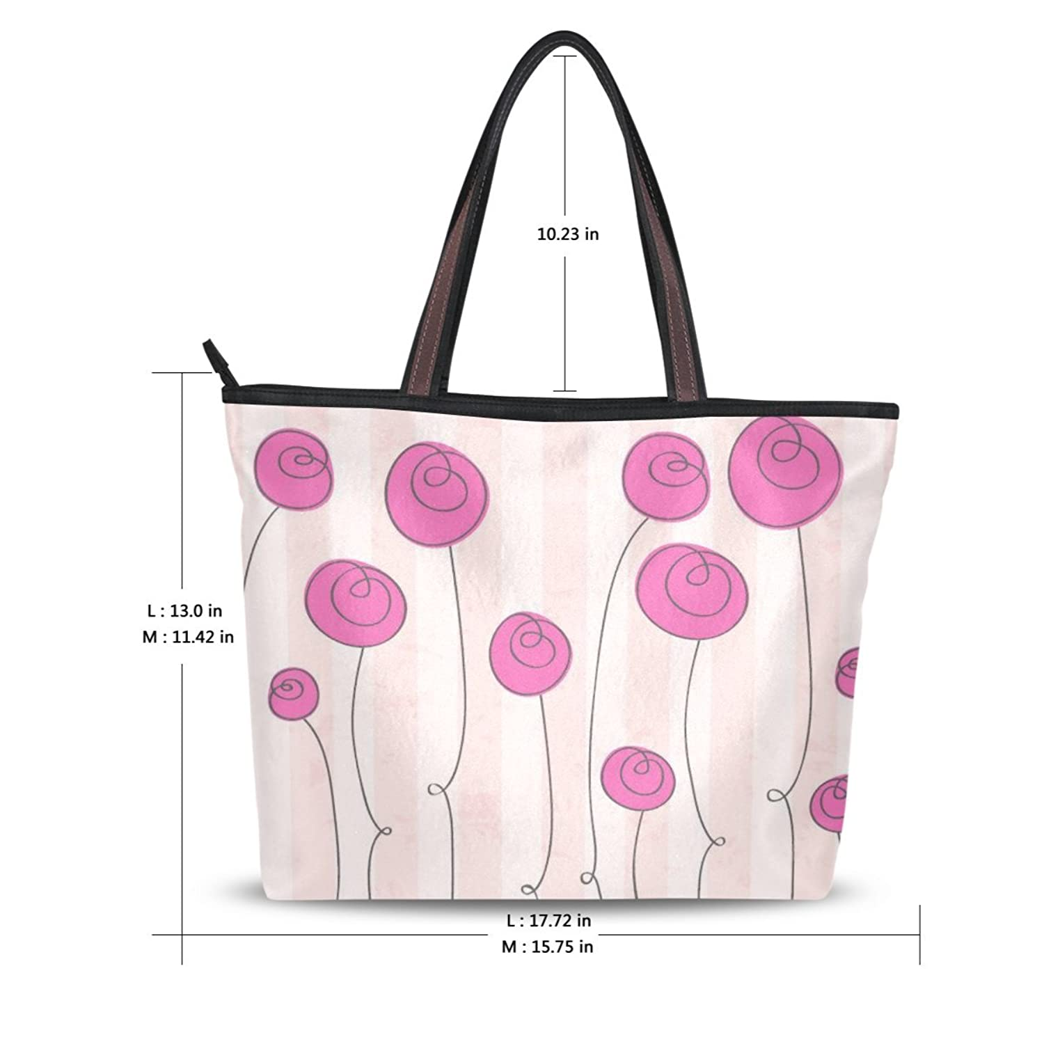 Women's New Fashion Design White Handbag Pink Flower Pattern Shoulder Bags Personalized Tote Bags