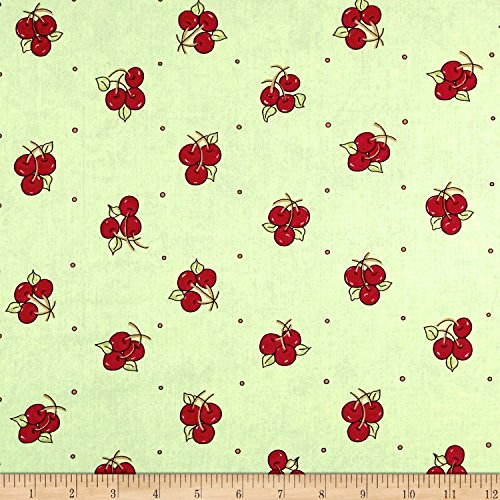 Riverwoods Collection Riverwoods Vintage Vogue Laundry Cherries Green Fabric by The ()