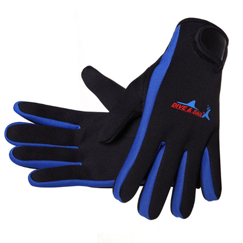 1,5 mm Gants Wetsuits néoprène Haut de Gamme Plongée Surf Gants Five Finger Gant Bleu