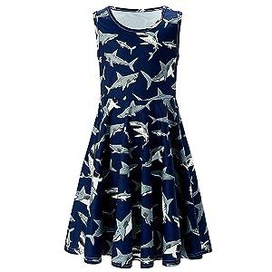 for 8-9 Years Girls Dress Skirt, Youth Teen Kids Girl Sleeveless Cartoon Shark Dress Party Sundress Clothes