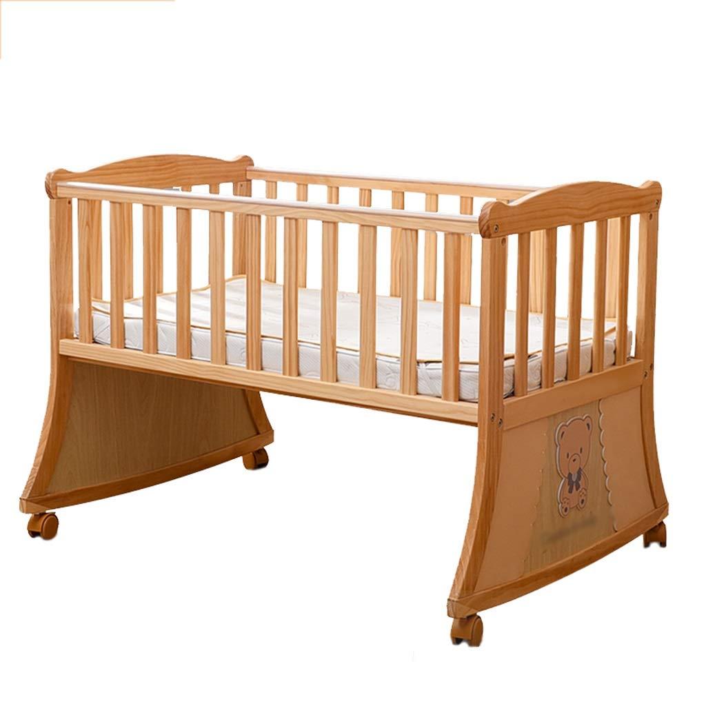 Babybett Babybett Multifunktionsfestes Holz Wiege Bett Spiel Bett Spleißen Bett (Farbe : Holzfarbe)