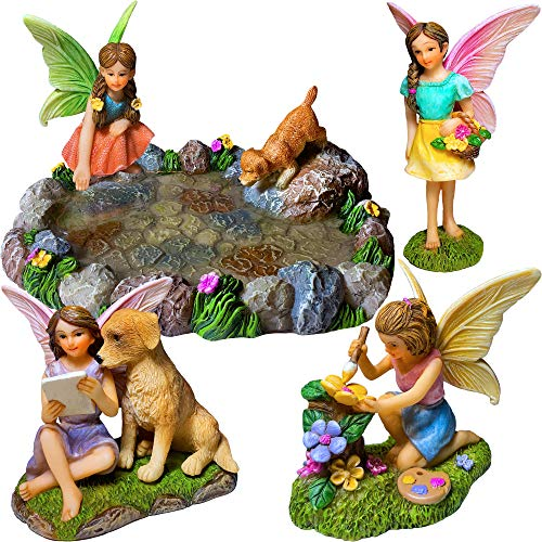 Fairy Garden Miniature Pond Kit - Figurines and Accessories Set of 5 pcs (Miniature Gardens For Fairies)