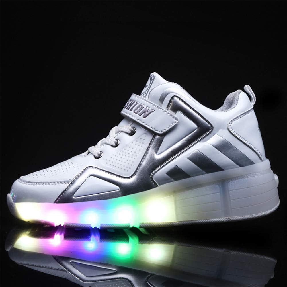Unisex Enfants LED High-Top avec Single Doubles roulettes Bouton Poussoir Ajustable Inline Skates Baskets Chaussures de Multisports Outdoor Course /à Pied Sneakers