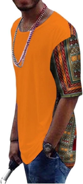 Doufine Mens Dashiki African Print Oversized Batik Tops Casual T-Shirts